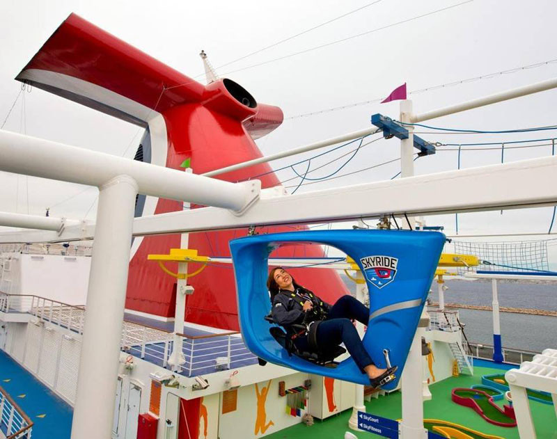 20 Of The Craziest Things You'll Find On Cruise Ships! // SkyRide is a suspended bike that you can ride around an 800 foot track above the sports deck giving you unique views of the ship and the sea.