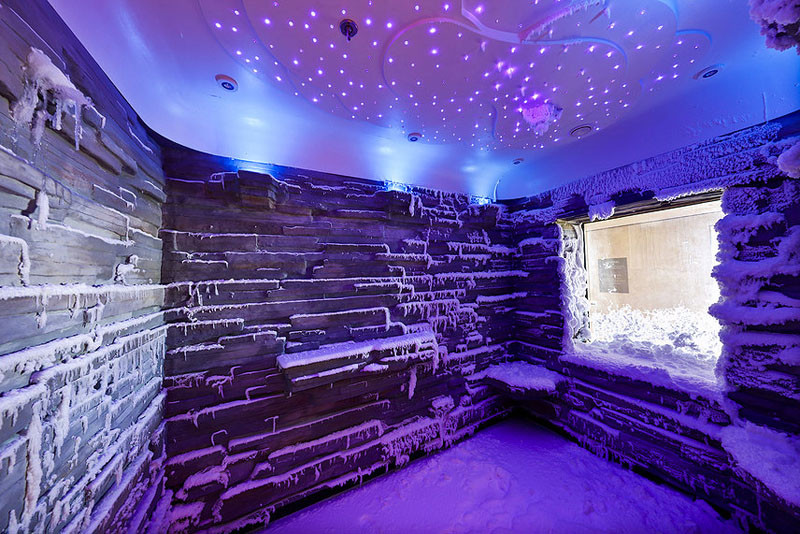 20 Of The Craziest Things You'll Find On Cruise Ships! // You'll also find a snow room on the Norwegian Escape cruise, it's an ice-cold arctic environment that stimulates blood circulation throughout the body.
