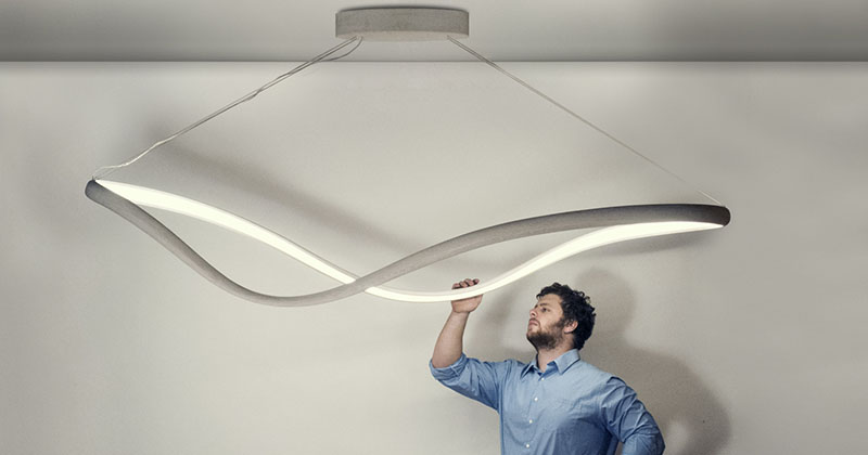 This continuous loop of bent wood emits light from embedded LEDs