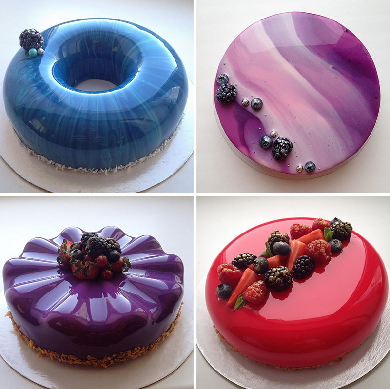 Glass-finish cakes by Olga Noskovaru