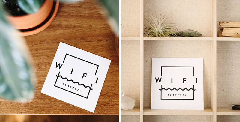 14 Guest Room Essentials To Make Sure Your Visitors Feel At Home // Possibly the most essential thing a guest will need is the WiFi password. Print off a card with the password on it and place it somewhere your guests are sure to find it. #GuestRoom #GuestRoomIdeas #GuestRoomEssentials