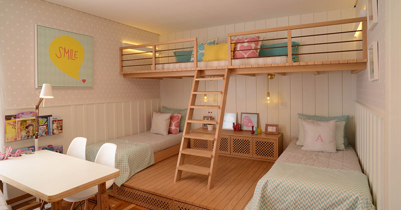 this cute girls bedroom was designed with a lofted playspace contemporist. Black Bedroom Furniture Sets. Home Design Ideas