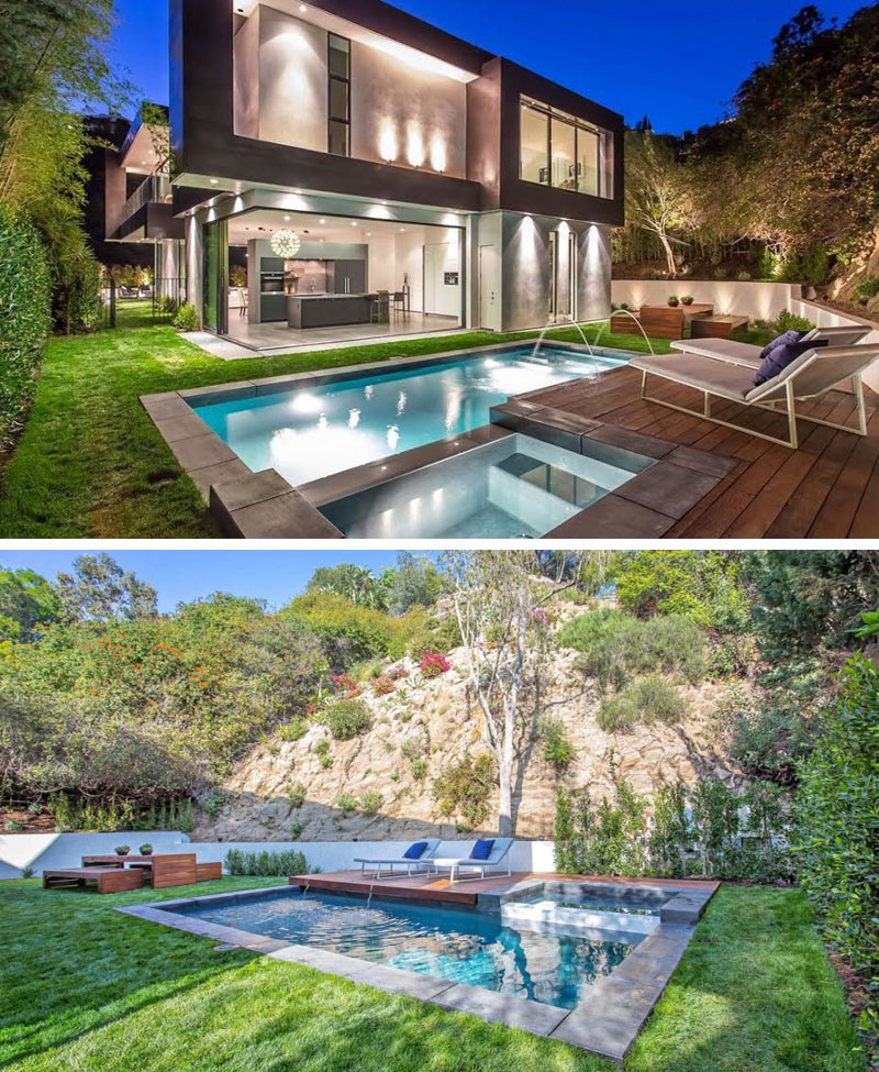 This home features a fully landscaped backyard with a swimming pool, a Brazilian Ipe wood sun deck, and an outdoor dining area.