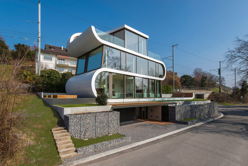 A White Ribbon Winds Its Way Through This House In Switzerland