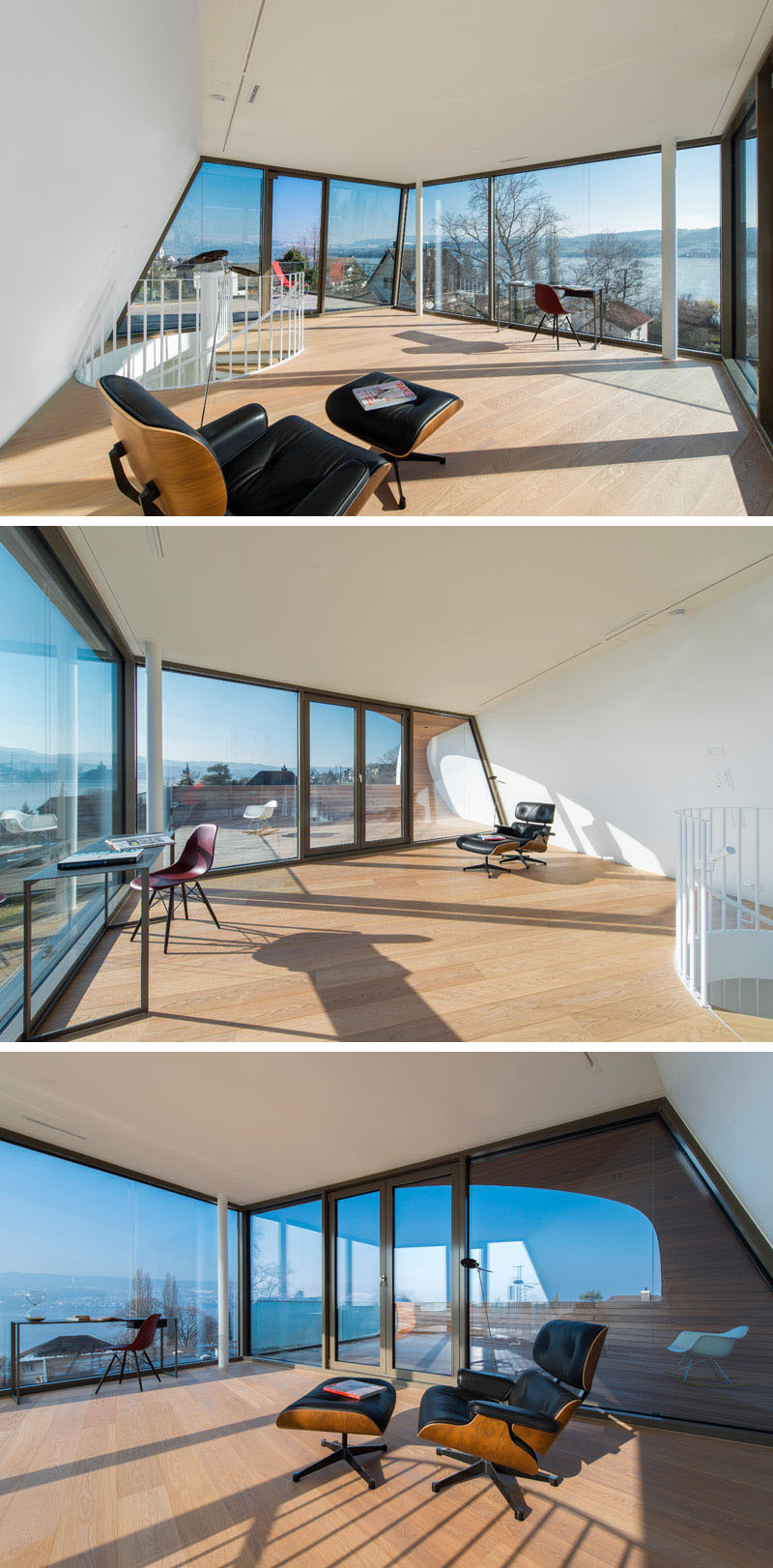 The top floor of this home, has a studio space with floor-to-ceiling windows that provide a 180 degree view of the lake.