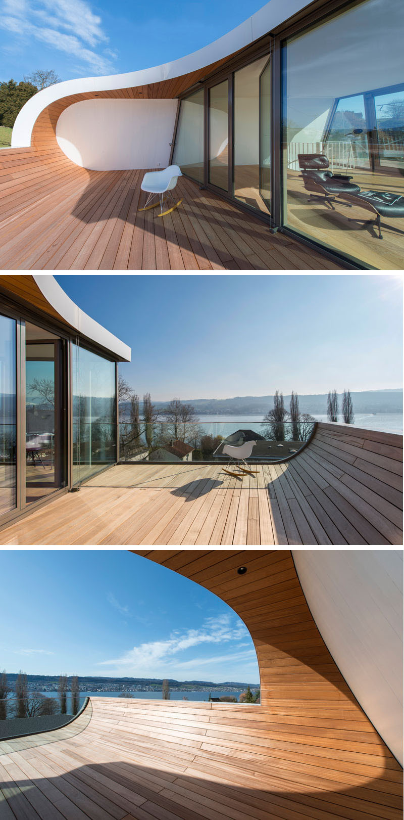 This family house on Lake Zurich, Switzerland, has a curved wooden deck to enjoy the views.