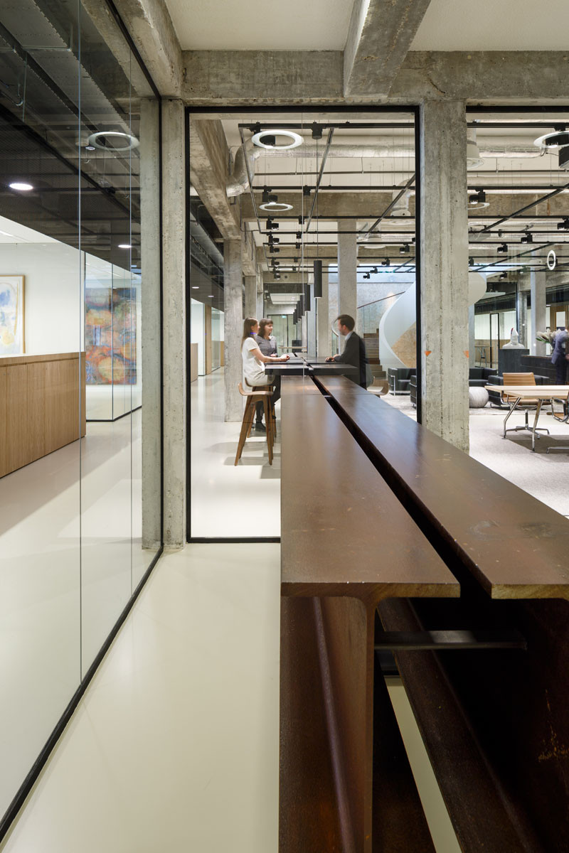 I Beams have been used as a counter support in this office building.