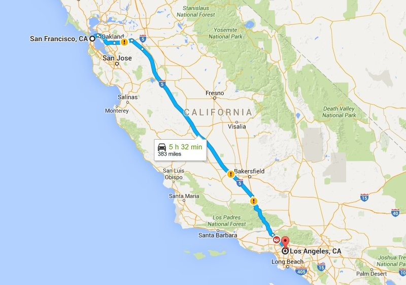 People Are Riding On This 'sleep Bus' Between San Francisco And: Map Los Angeles To San Francisco At Infoasik.co
