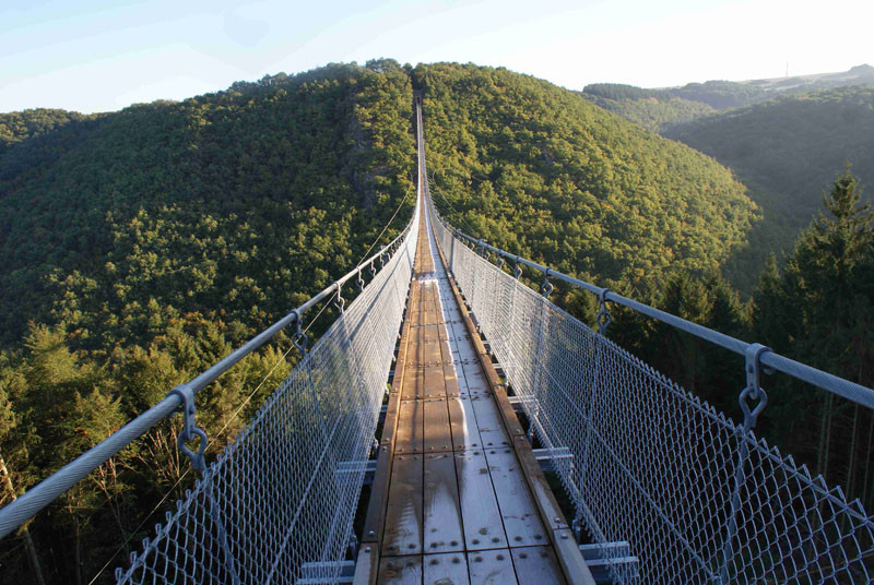 10 Of The Most AMAZING Suspension Bridges In The World // The Geierlay suspension bridge in Germany can be done on it's own or as part of a bigger hike through the Hunsruck mountains.