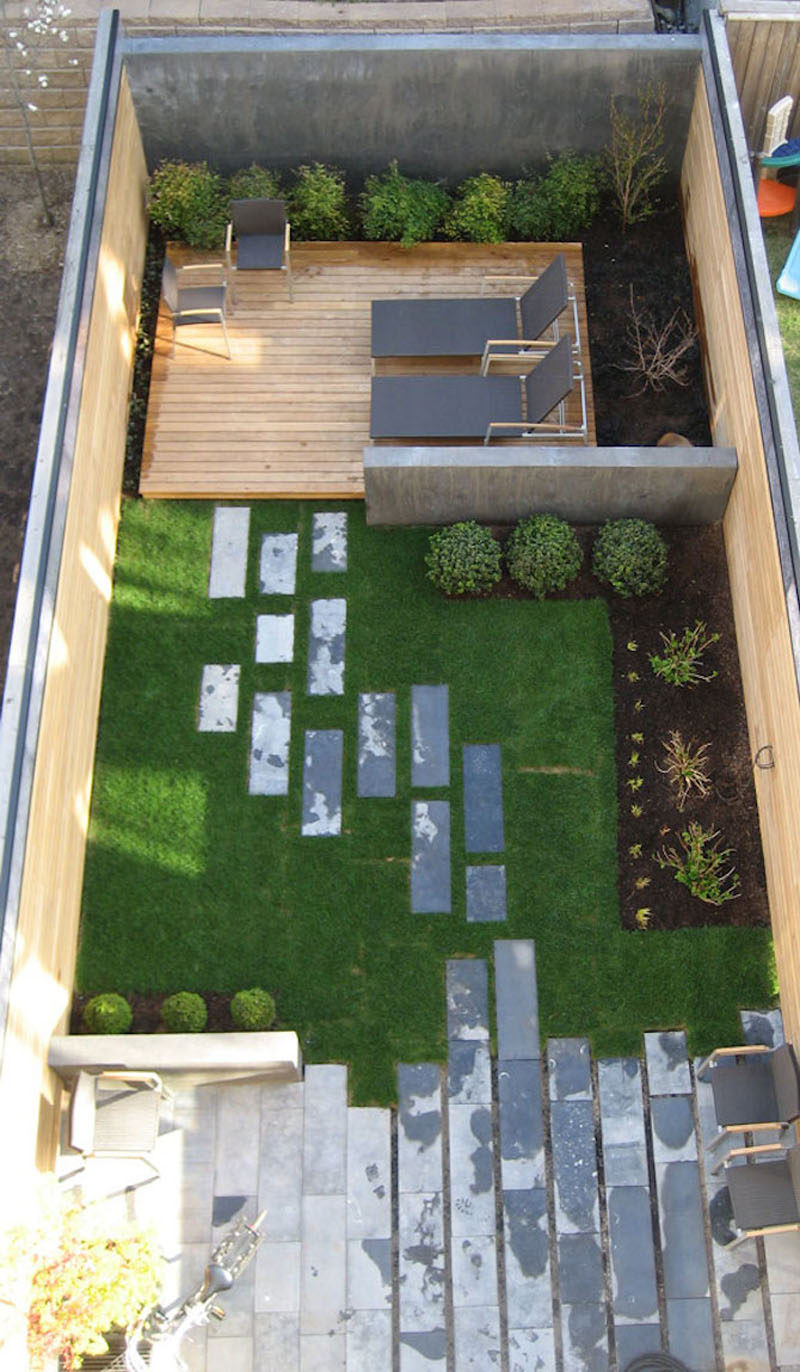 16 Inspirational Backyard Landscape Designs As Seen From Above // Although this backyard is small it still manages to get three defined spaces - a lounge, a grassy area, and a patio right off the house. #Backyard #YardIdeas #LandscapingIdeas #YardLayout #YardDesign