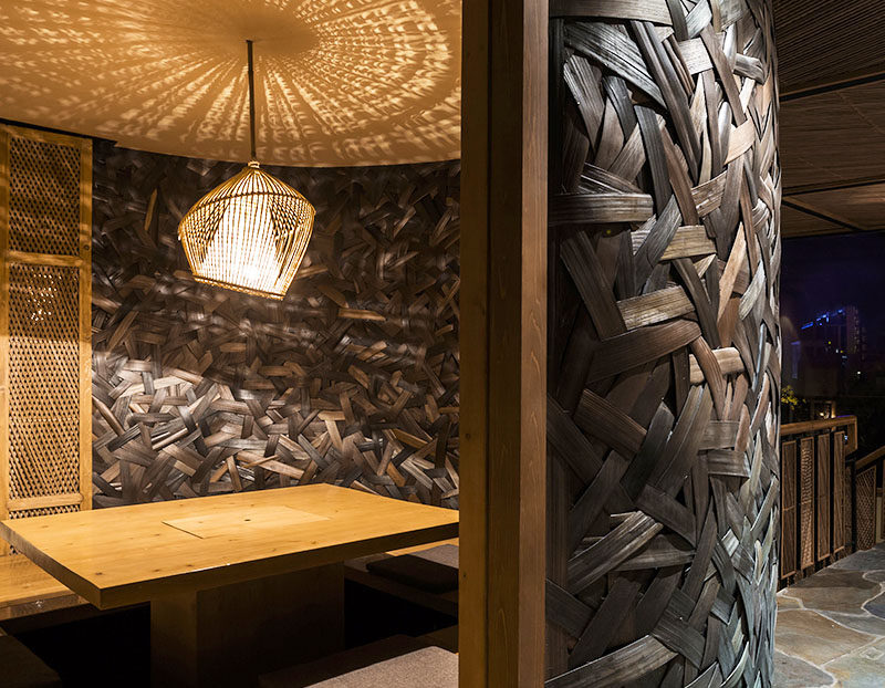 Woven Bamboo Walls Create A Textured Room In A Restaurant