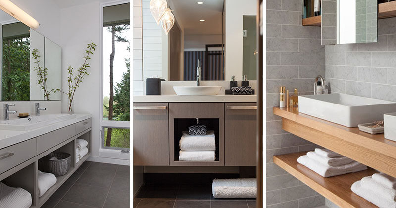 15 examples of bathroom vanities that have open shelving. Black Bedroom Furniture Sets. Home Design Ideas