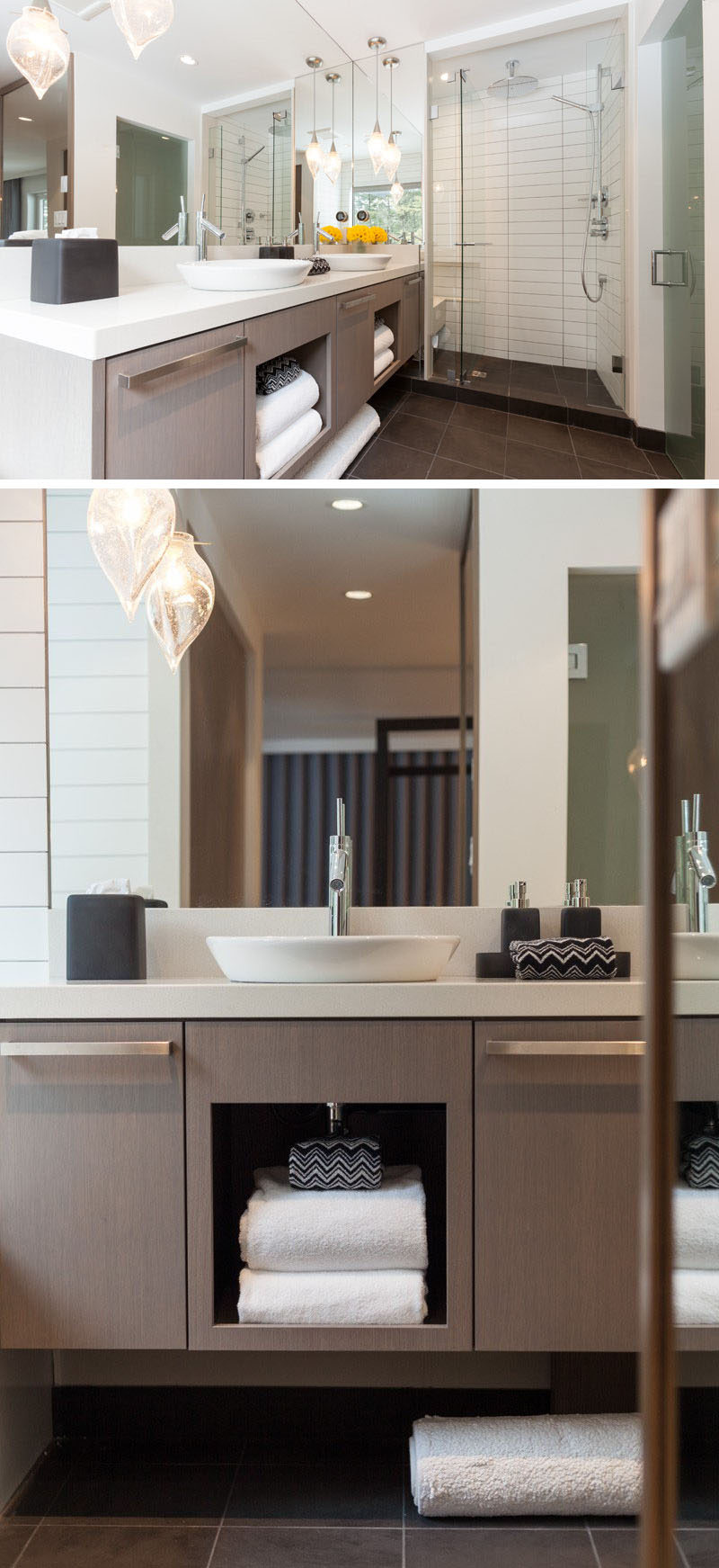 15 Examples of Bathroom Vanities That Have Open Shelving // Under each of the sinks in this bathroom by Robert Bailey sits an open shelf for storing towels and face cloths.