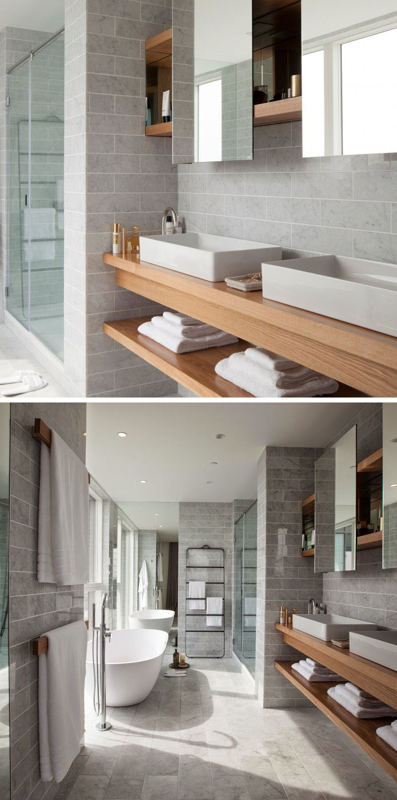 15 Examples Of Bathroom Vanities That Have Open Shelving // This Vanity  Features Multiple Sinks