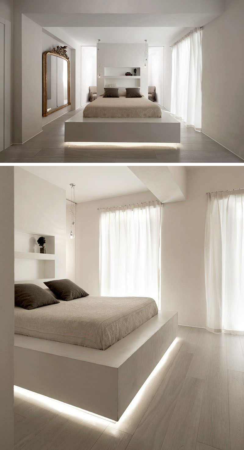 Amazing A strip of LED lights under this bed frame makes the bed appear to float