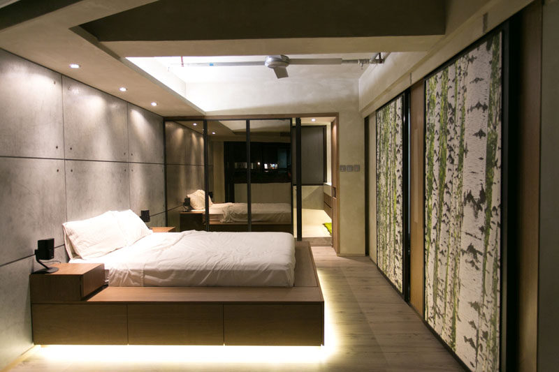 9 Bedrooms With Beds That Feature Hidden Lighting // The super bright lights under the bed make it look like it's sitting on a cloud of light.