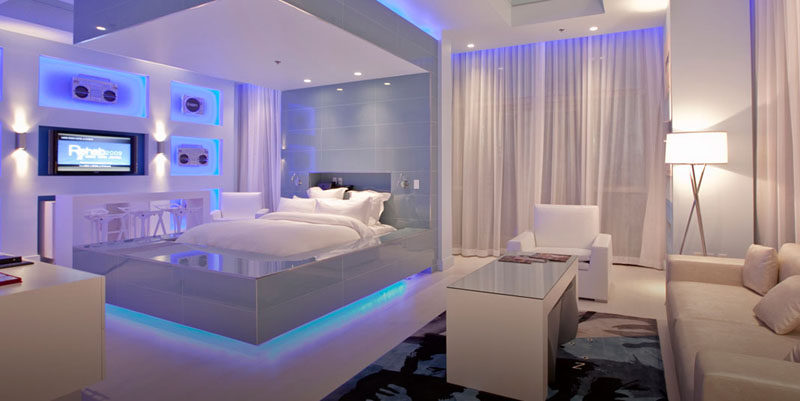 9 Bedrooms With Beds That Feature Hidden Lighting // If you can get VIP status at the Hard Rock Hotel & Casino in Las Vegas, you might be able to stay in this futuristic bed!
