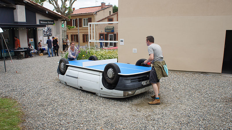 Old Cars Aren't Just Good For Scrap Metal...They Also Make Great Outdoor Ping Pong Tables