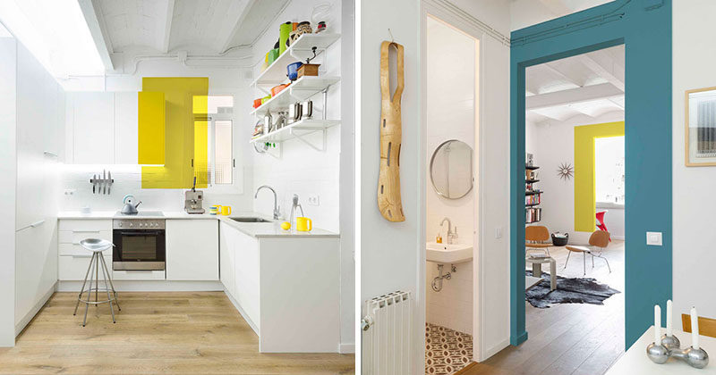 Design Detail: Random Color Blocking Throughout An All White Barcelona Apartment