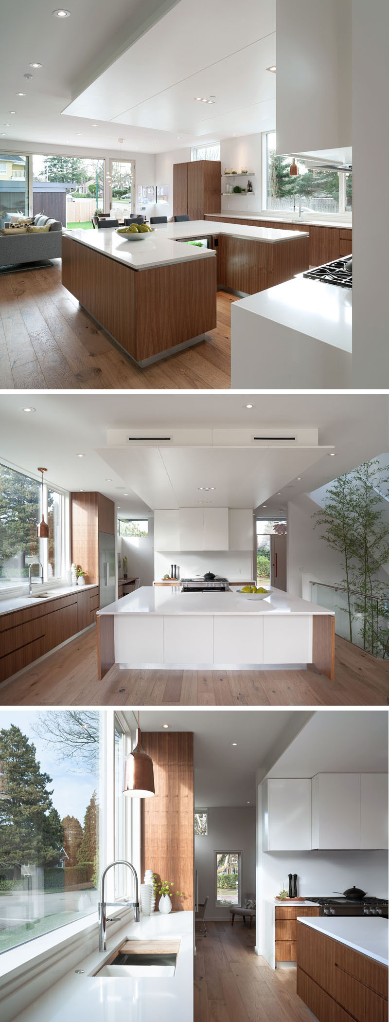 The kitchen island in this kitchen has been designed in a 'U' shape, giving the homeowners plenty of space for food prep, and making it easy to socialize while cooking.