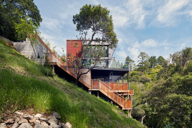 This home, located on the side of a steep hill in Mill Valley, California, is spread over three levels, each with amazing views of the area.