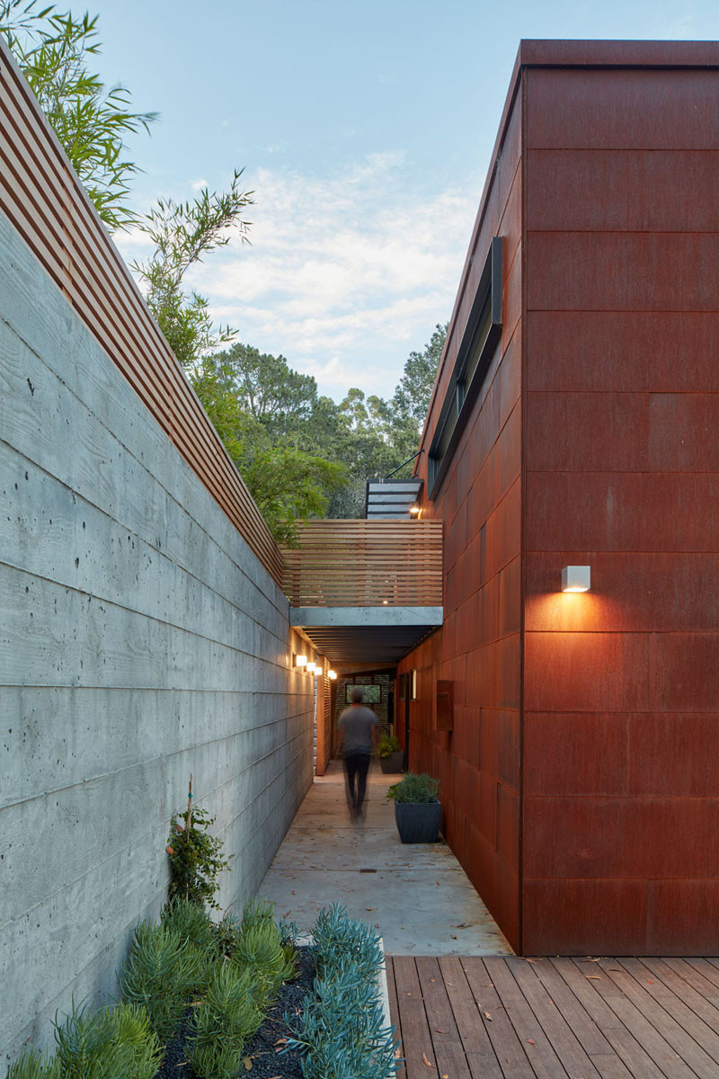 Weathering steel, concrete and wood are key materials on the exterior of this home in California.