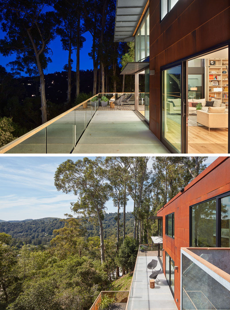 Just of the living room of this home, is a deck with amazing views of Mill Valley, California.