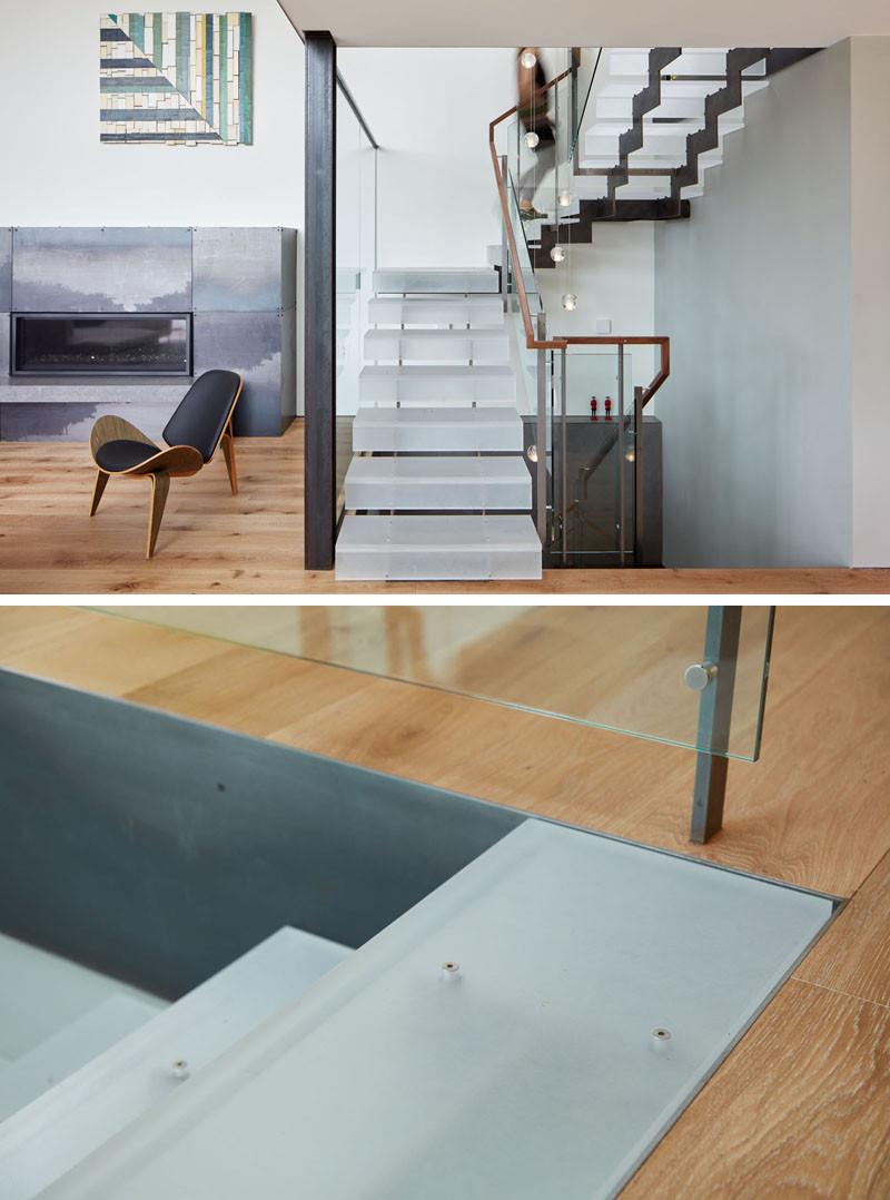 These custom designed stairs are made from steel and acrylic.