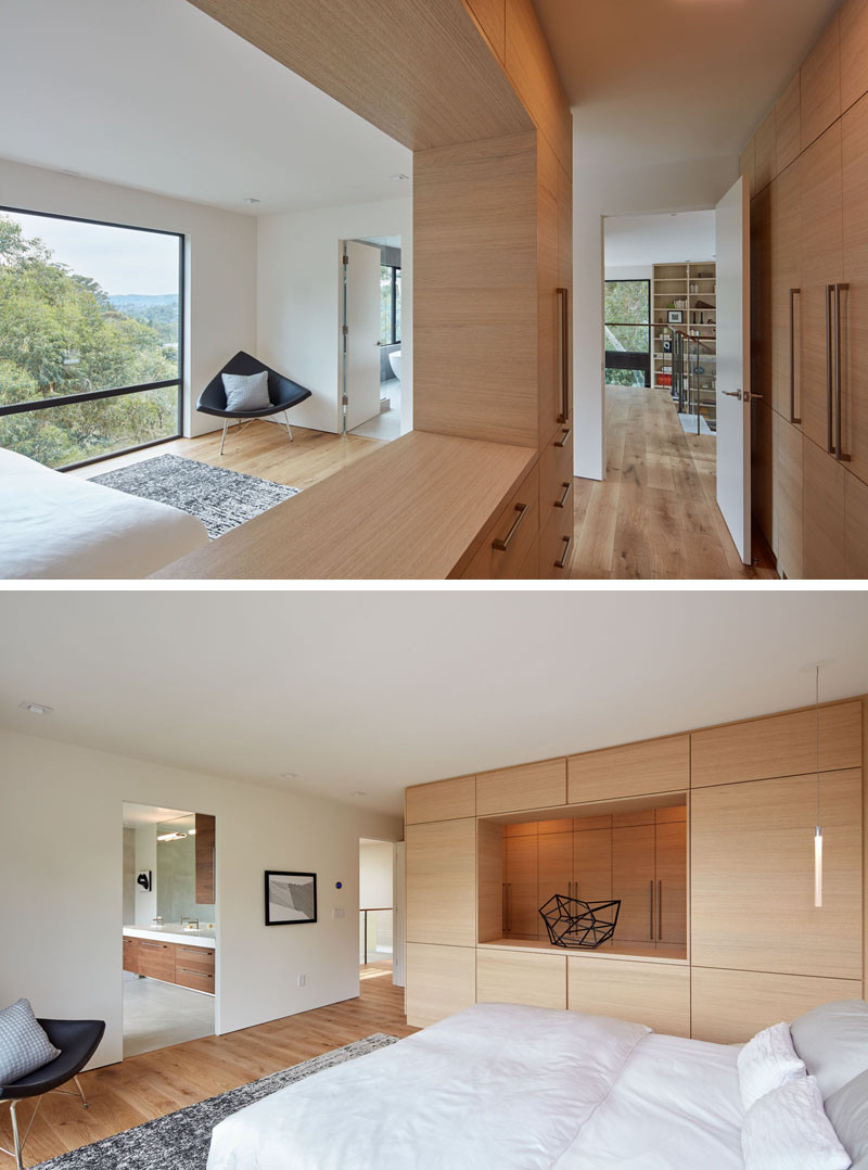 This master bedroom has amazing views and custom cabinetry.
