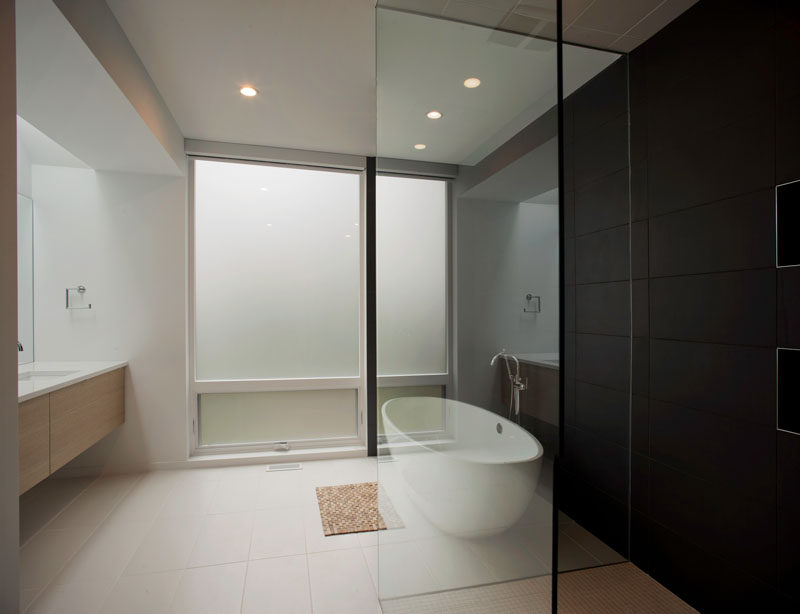 The windows in this bathroom are frosted to provide privacy.