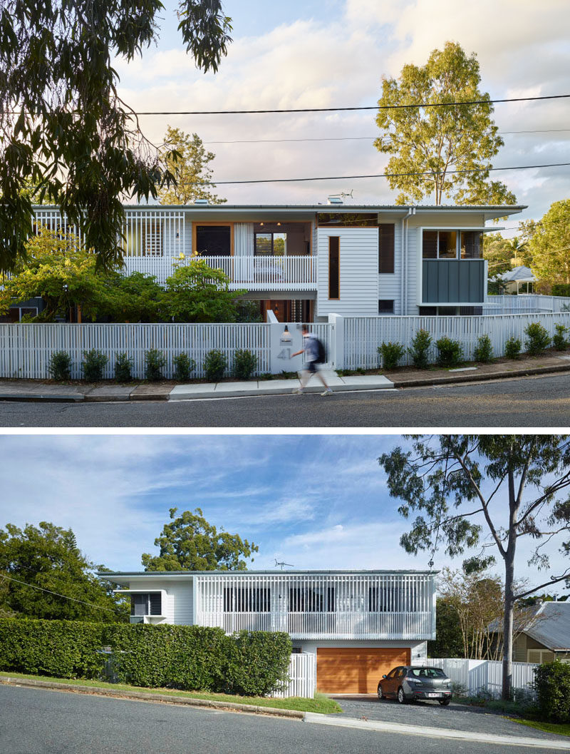 This new home in a quiet suburban street of Brisbane, Australia, is perfectly positioned to take advantage of the corner lot.