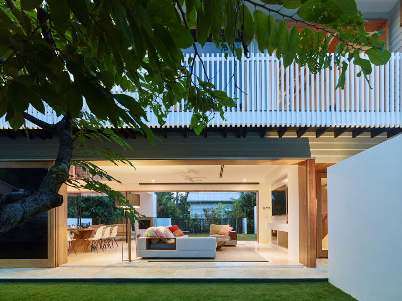 The main living area of this Australian home opens up on the other side to another courtyard with outdoor space.