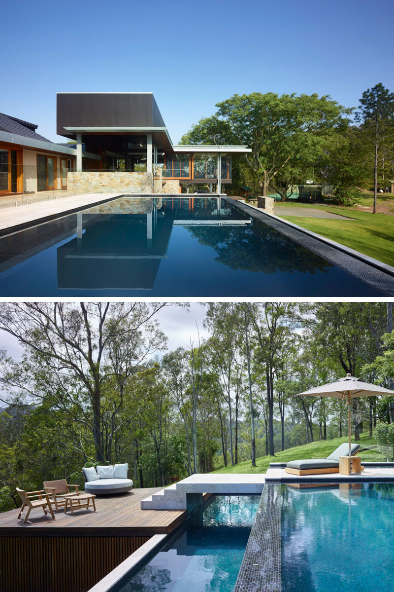 This Australian home, designed by Shaun Lockyer Architects, has large swimming pool, with a sun deck for relaxing on hot days.