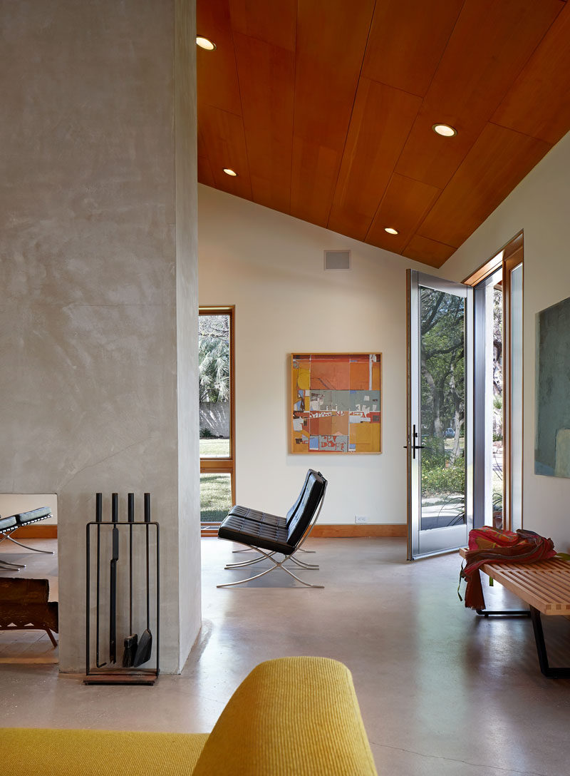 Upon entering this home, there's a small sitting area with views of the street.