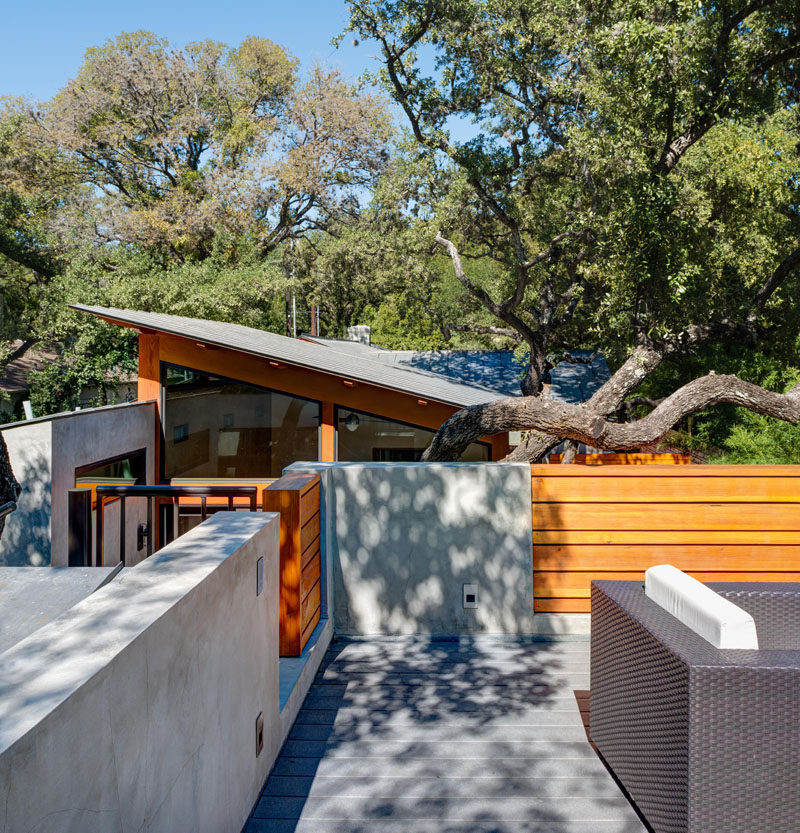 This roof top dining deck was created over the garage for stargazing and entertaining and to expand the home's outdoor space.