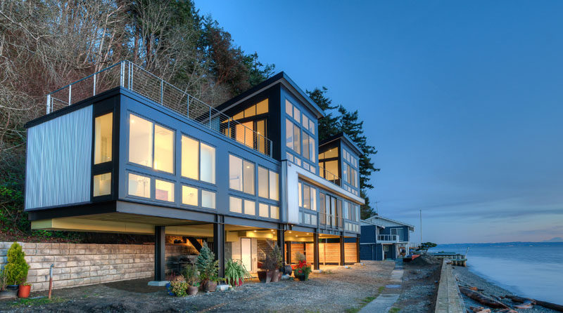 This modern beach home sits on Camano Island in Washington State.