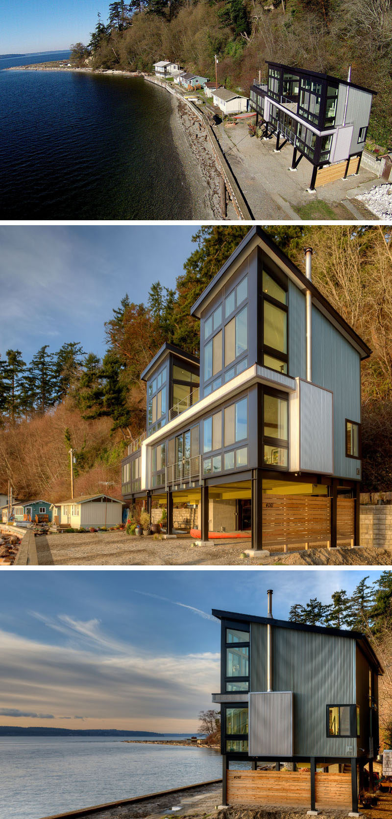 This home, designed by Designs Northwest Architects, sits at the bottom of an extremely steep slope, that experiences periodic shallow surface mud slides. As mud slides are a definite possibility, and due to the location of the home being on a remote beach without road access, making it too difficult to bring in heavy equipment and concrete trucks, the architects decided to design the home above the ground on low profile steel columns, instead of a 10 foot tall retainer wall.