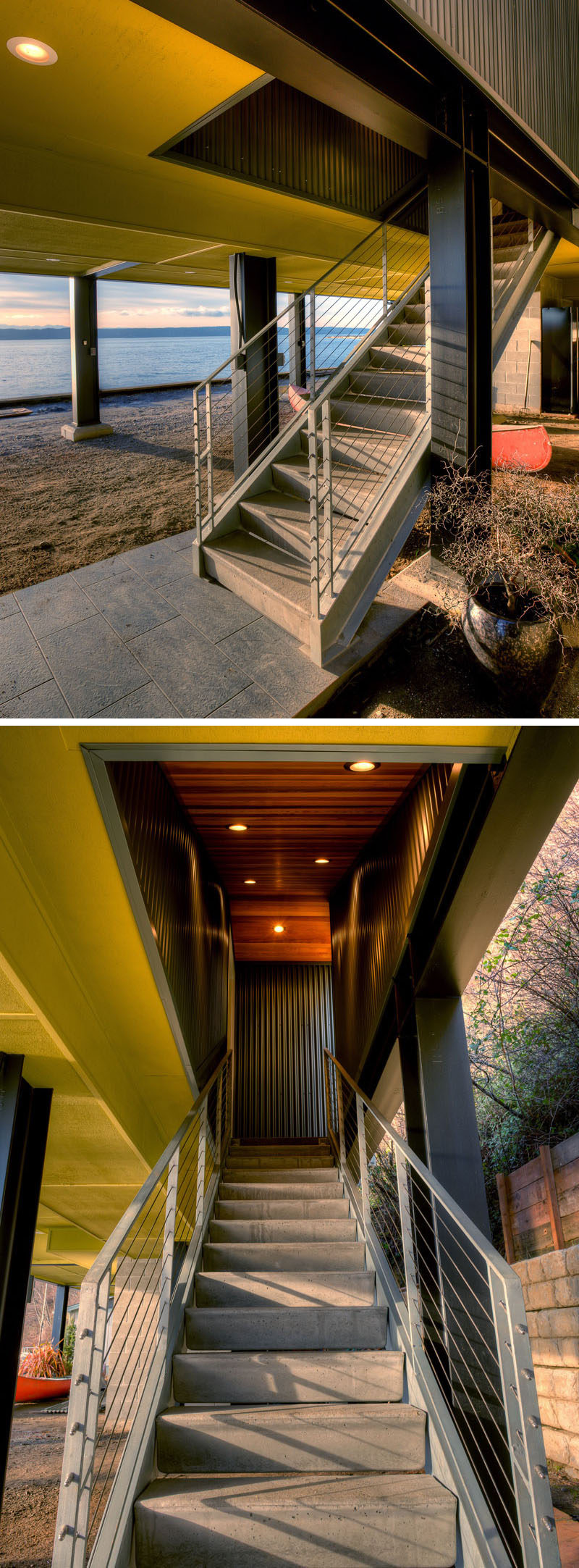 Concrete stairs lead you up to this home in Washington State.