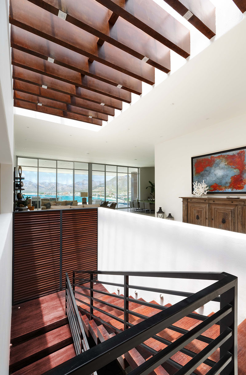 A large skylight fills the interior of this home with light.