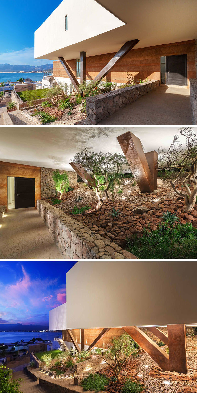 There are several different access points along a stone pathway to reach the backyard of this home.