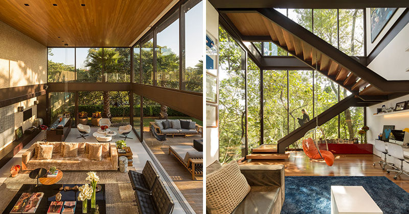 This home, located on a steep site in Sao Paulo, Brazil, evokes the architecture of Mies van der Rohe, with its simple geometry and extensive use of glass.