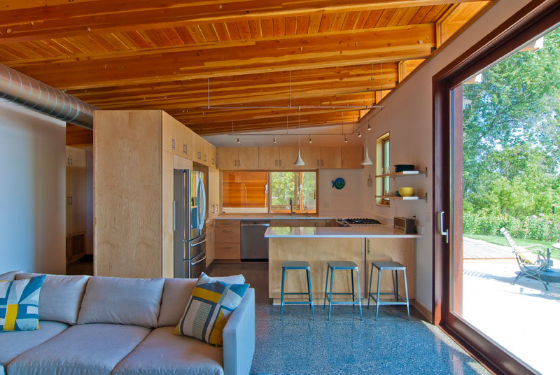 This beach cottage has a simply but functional kitchen.