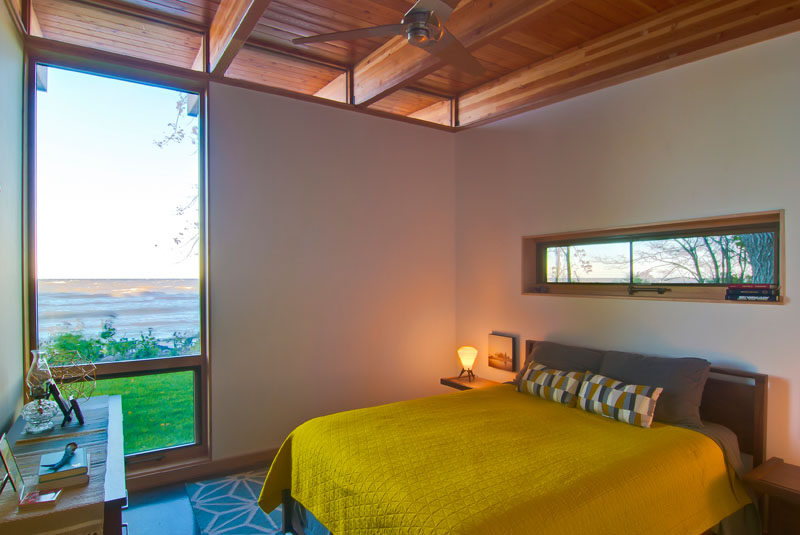 The position of the windows in this bedroom provide plenty of natural light to the room, but at the same some allow for some privacy.