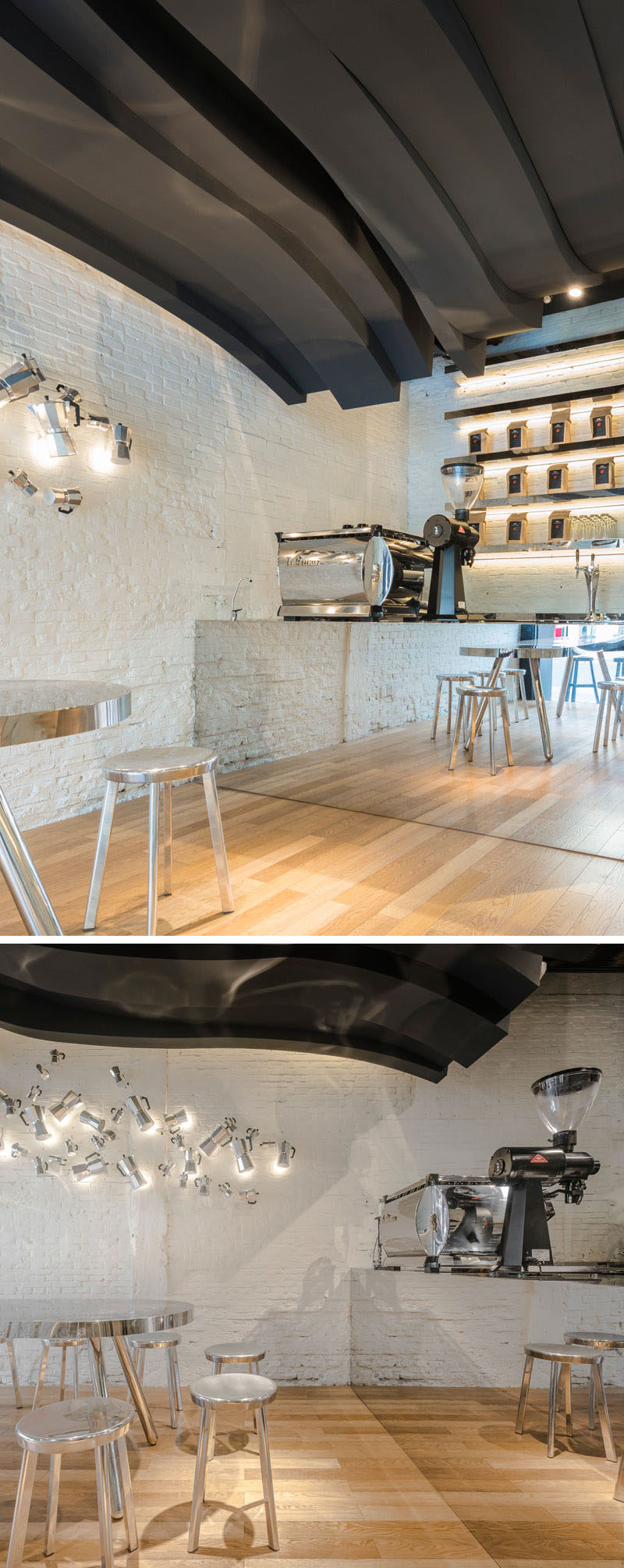 The counter in this cafe is mirrored, making the space feel larger.