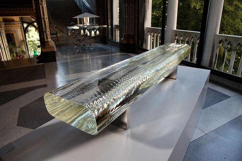 This bench named 'Water Block', is made from glass, and has been designed by Tokujin Yoshioka.