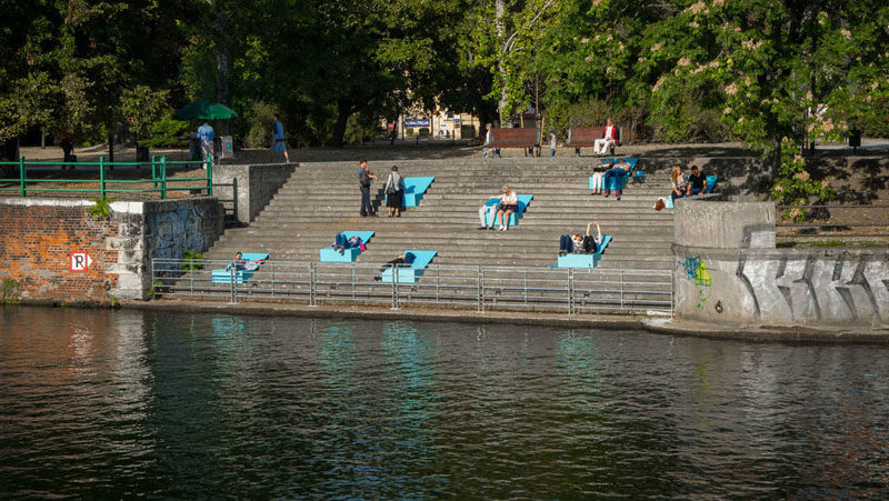 These Designers Added Some Colorful Seating To The Rivers Edge In Poland