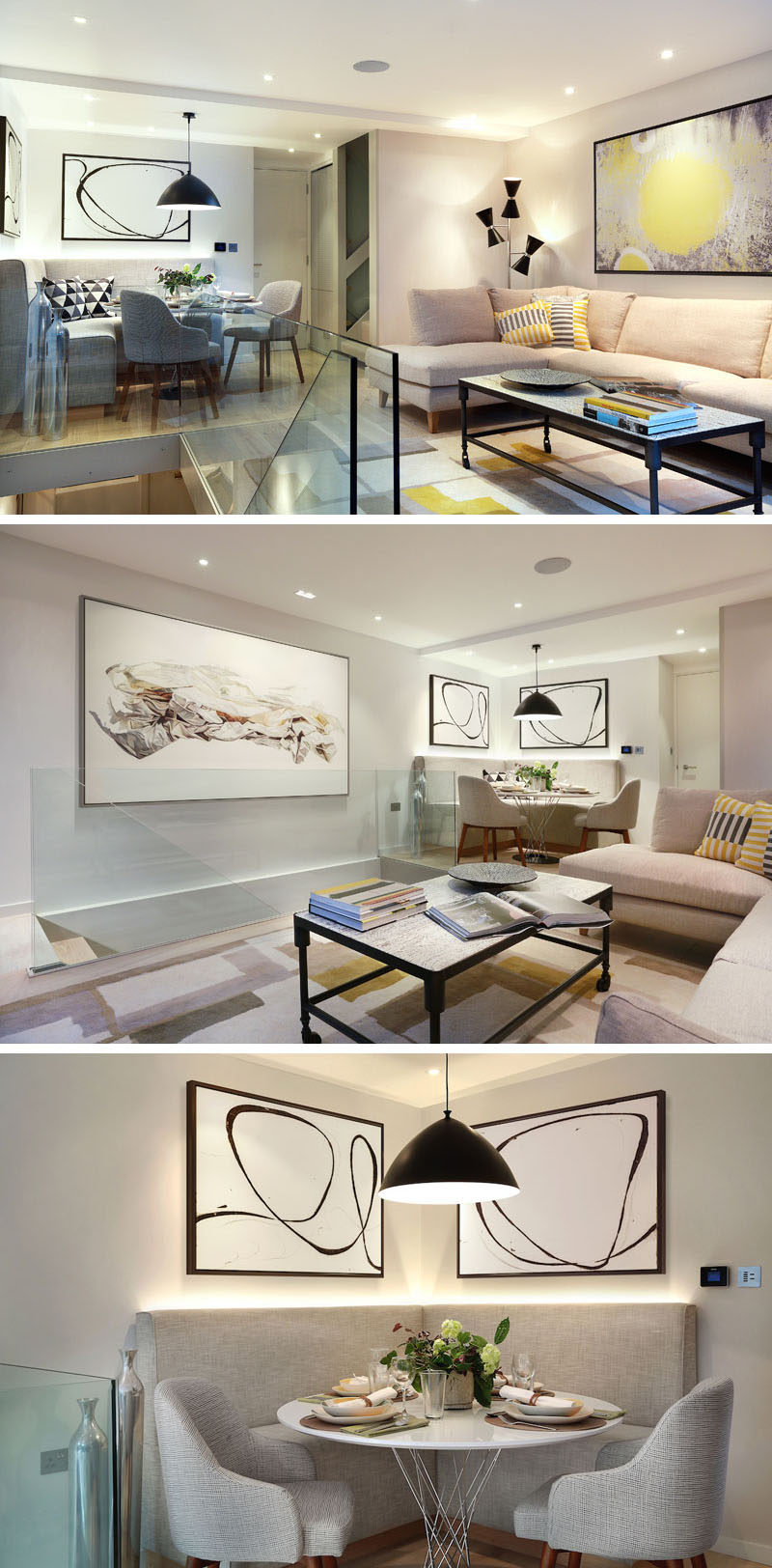A custom designed banquette was included in this living room design. The banquette is lit from behind with LED strips, and by adding a round table and two dining chairs, the space can comfortably sit 6 people.