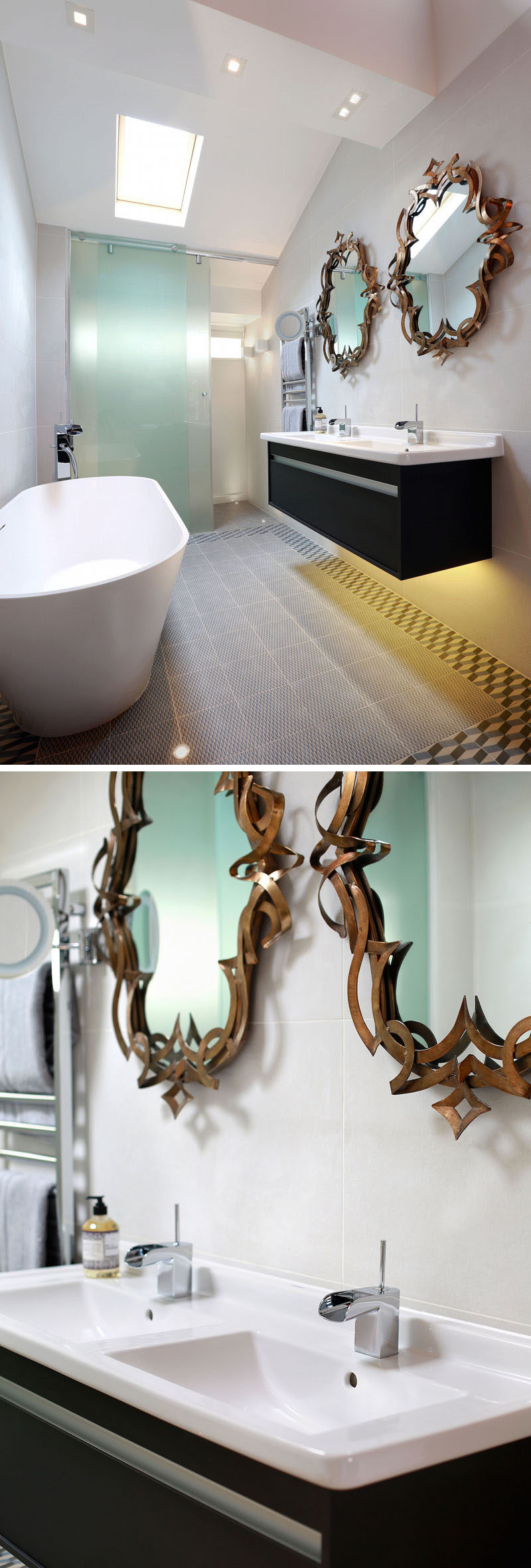 The bath in this bathroom was positioned facing the bedroom to allow views of the garden beyond, and an opaque glass sliding screen was installed between the toilet and bathroom. An LED strip under the vanity unit, additional wall lights and small in-floor up-lights around the bath completed the look, and bronze mirrors add an artistic touch to the bathroom.