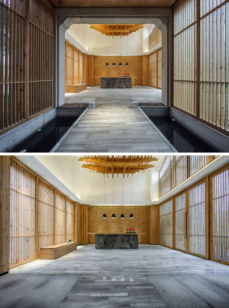 Designed by Lin Kaixin Design, this spa combines materials like wood and stone to create a spa that is contemporary, but at the same time isn't so foreign in its design, like the water feature below that separates the reception area and the lounge.