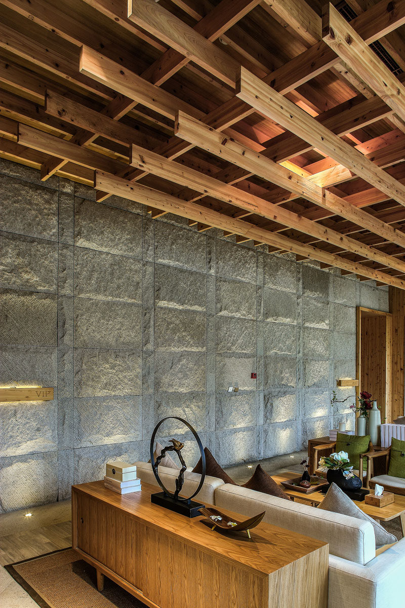 Wood and stone have been used throughout this spa in China.